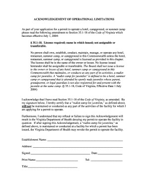 Acknowledgement of Operational Limitations Form - Fairfax County ... Fill Online, Printable ...