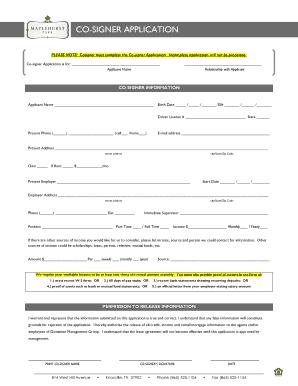 Fillable Online CO-SIGNER APPLICATION - Maplehurst Park Apartments Fax Email Print - PDFfiller