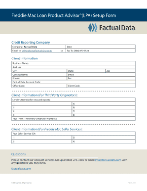 Freddie Mac Loan Product Advisor (LPA) Setup Form SM Fill Online, Printable, Fillable, Blank ...