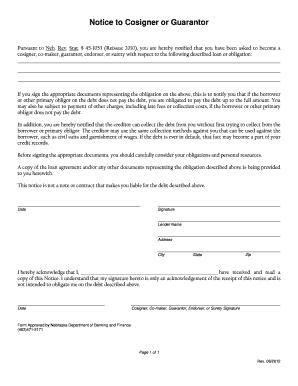 Guarantor form template