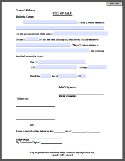 Printable Bill of Sale Form - Free Fillable PDF Forms | Free Fillable PDF Forms