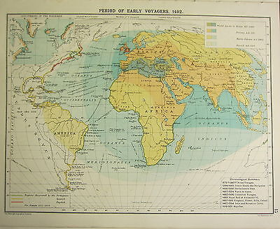 Australia Oceania Maps  Maps  Atlases   Globes  Antiques Page 20     1905 Map   Period Of Early Voyagers 1492 Norsemen Discoveries Regions  Discovered