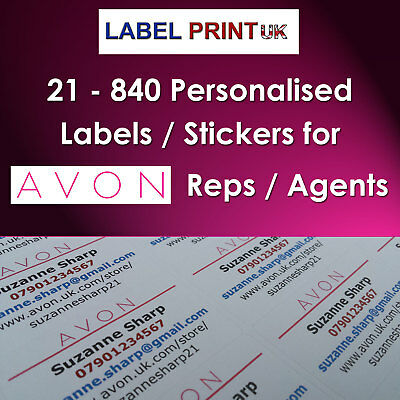 PERSONALISED AVON COSMETIC Product Stickers Labels Address     Personalised Avon Sticky Business Contact Labels for Avon Reps  Inc  Avon  logo