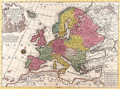 VINTAGE OLD WORLD Map of Europe 1700 s CANVAS PRINT 24 X18  Poster     Vintage Old World Map of Europe 1700 s CANVAS PRINT A3 Poster