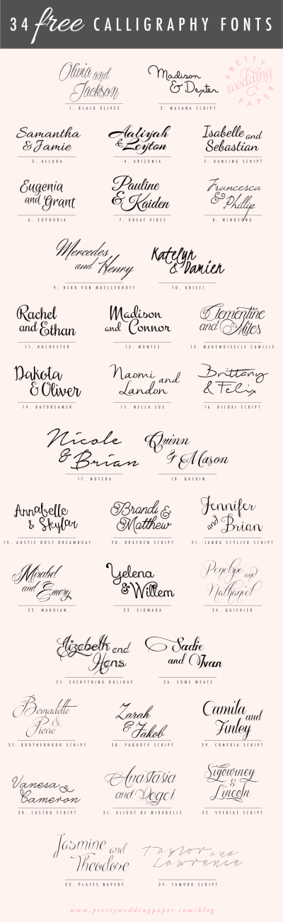 34 Free Calligraphy Script Fonts for Wedding Invitations