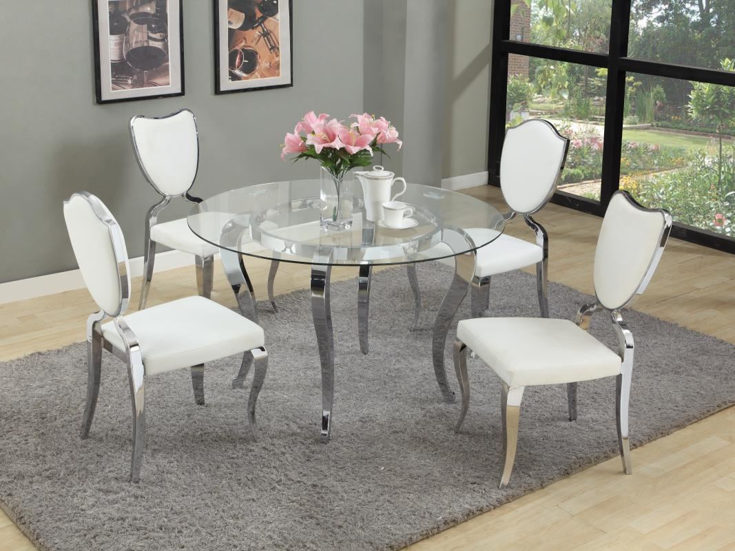 base round dining table round glass top dining table glass top kitchen table Chintaly Imports Round Dining Table W Glass Top