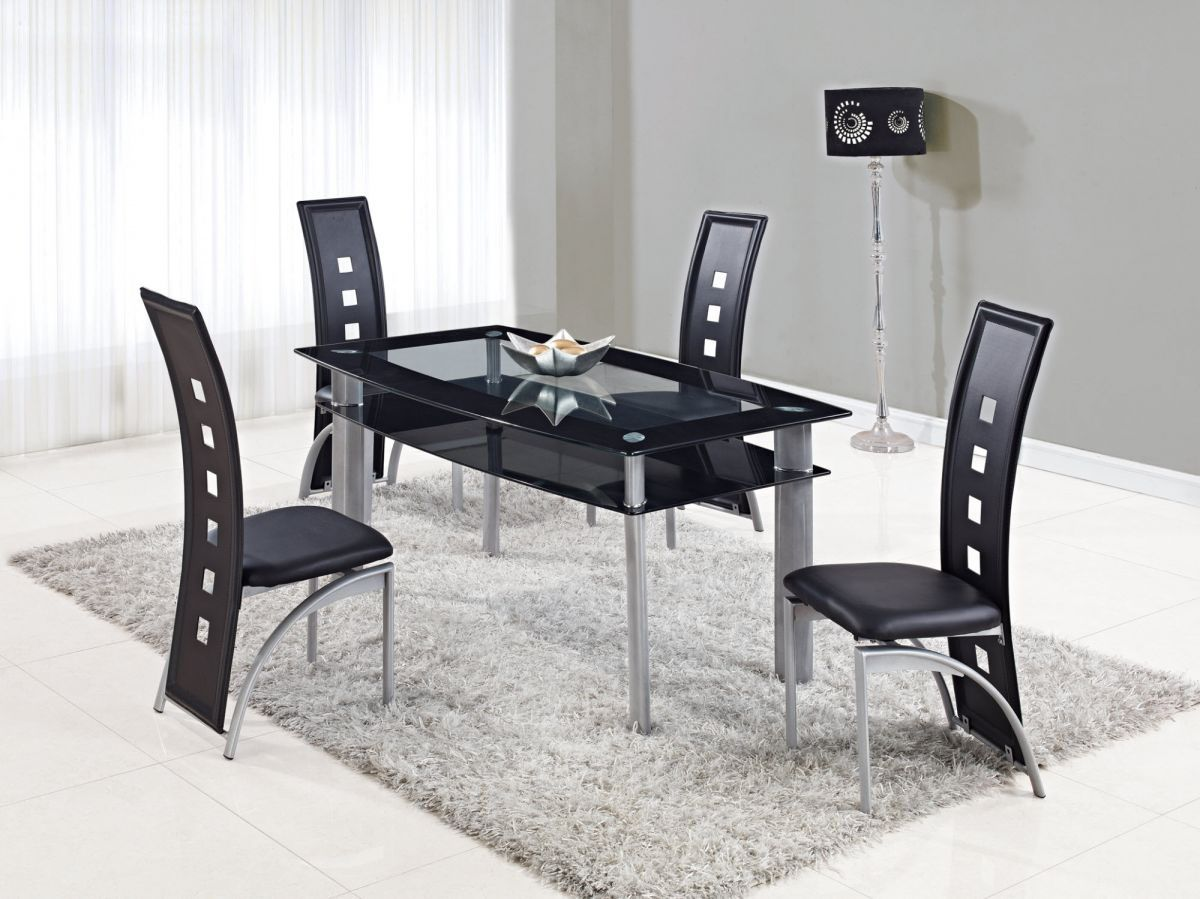 glass top dining table sets modern kitchen table chairs Dining Tables