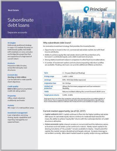 Subordinate Debt Loans | www.principalglobal.com | Principal Real Estate Investors