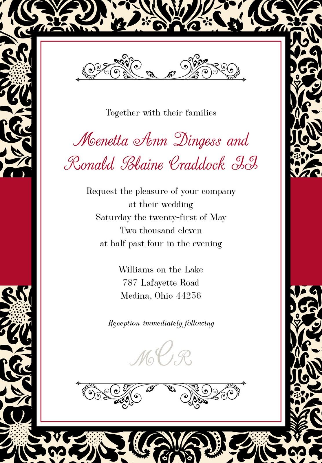diy red and black wedding invitations damask wedding invitations Printable Red And Black Wedding Invitations Invitation Card