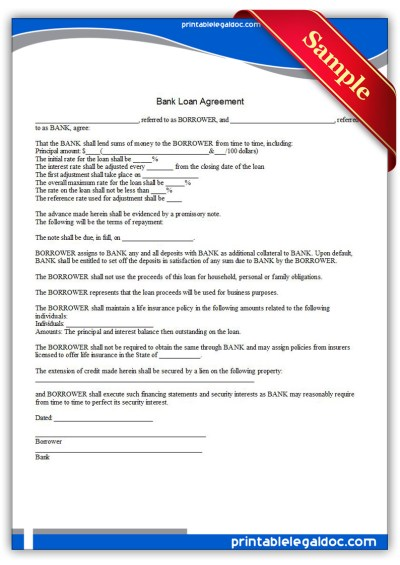 Free Printable Bank Loan Agreement Form (GENERIC)