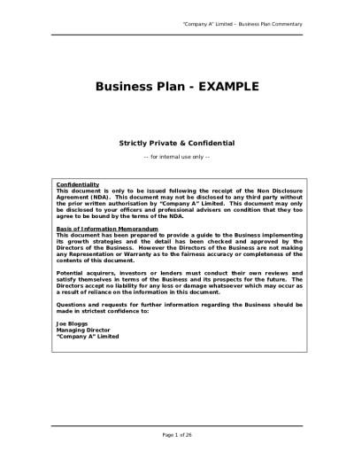 Free Printable Business Plan Sample Form (GENERIC)