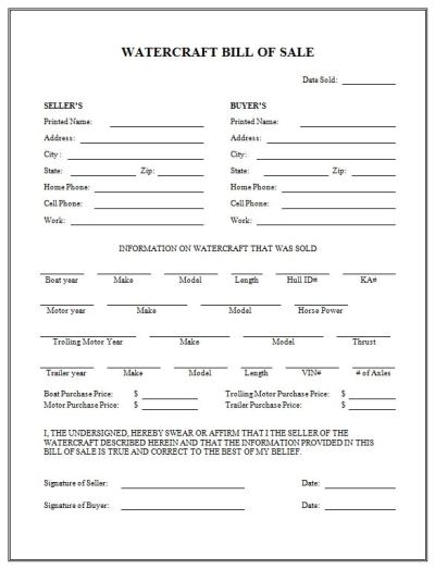 Free Printable Boat Bill Of Sale Form (GENERIC)
