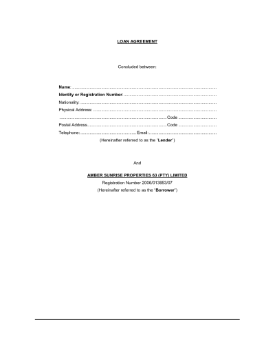 Free Printable Loan Contract Template Form (GENERIC)