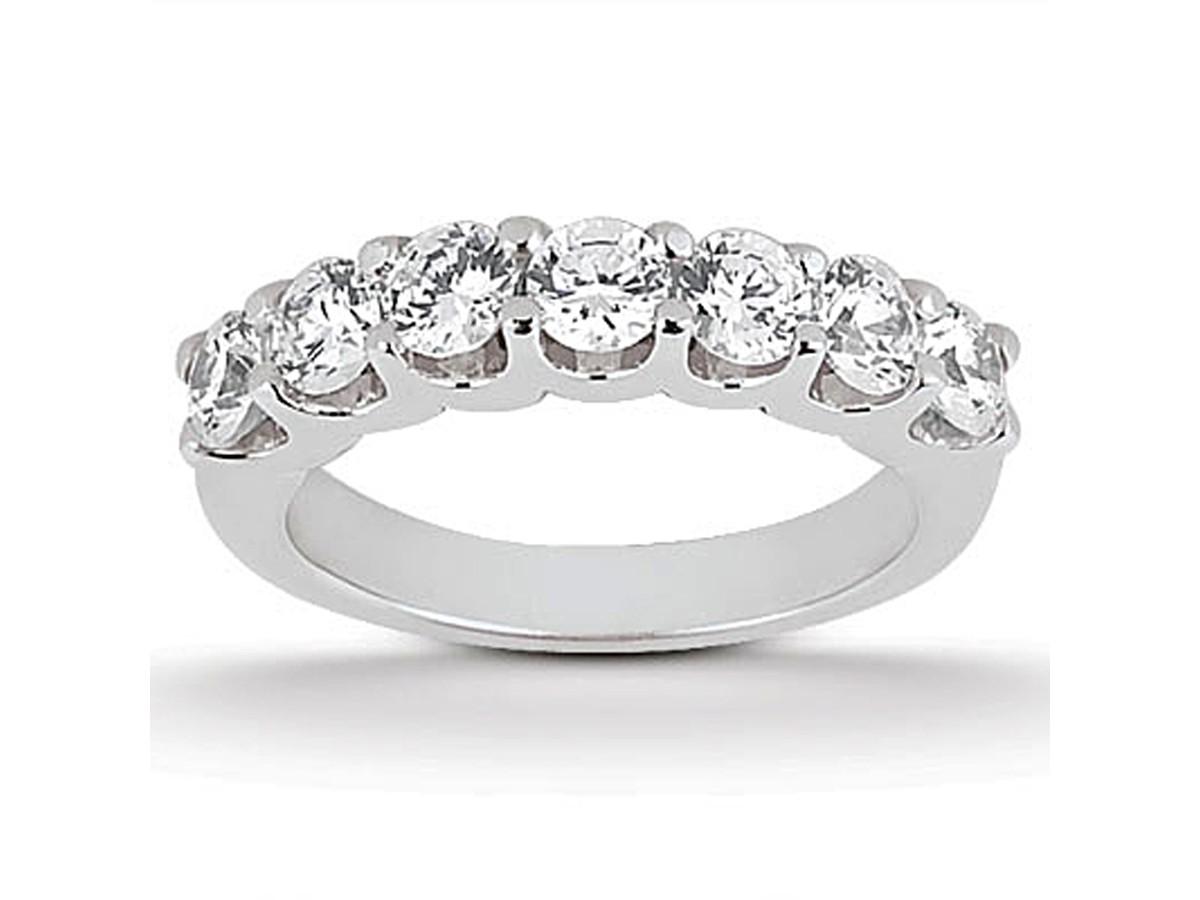 Diamond Shared U Prong Setting Wedding Ring Band 14K White Gold wedding ring with band