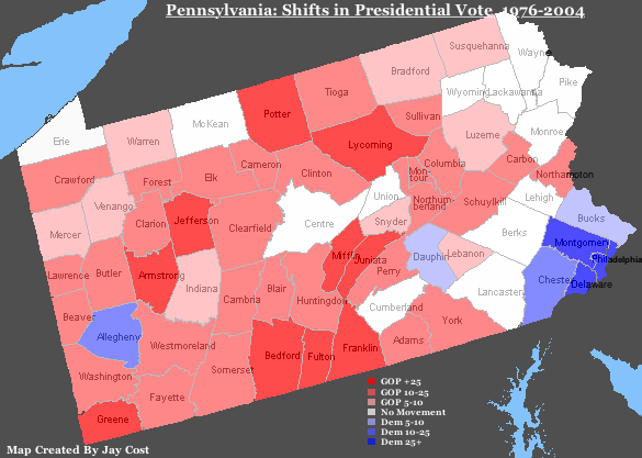 pennsylvania county election map     bnhspine com RealClearPolitics HorseRaceBlog Shifting Sands Of PA