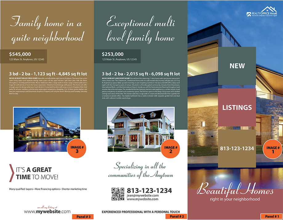 Real Estate Brochure Template   Realtor Brochure Template Real Estate Brochures   Realty Brochures
