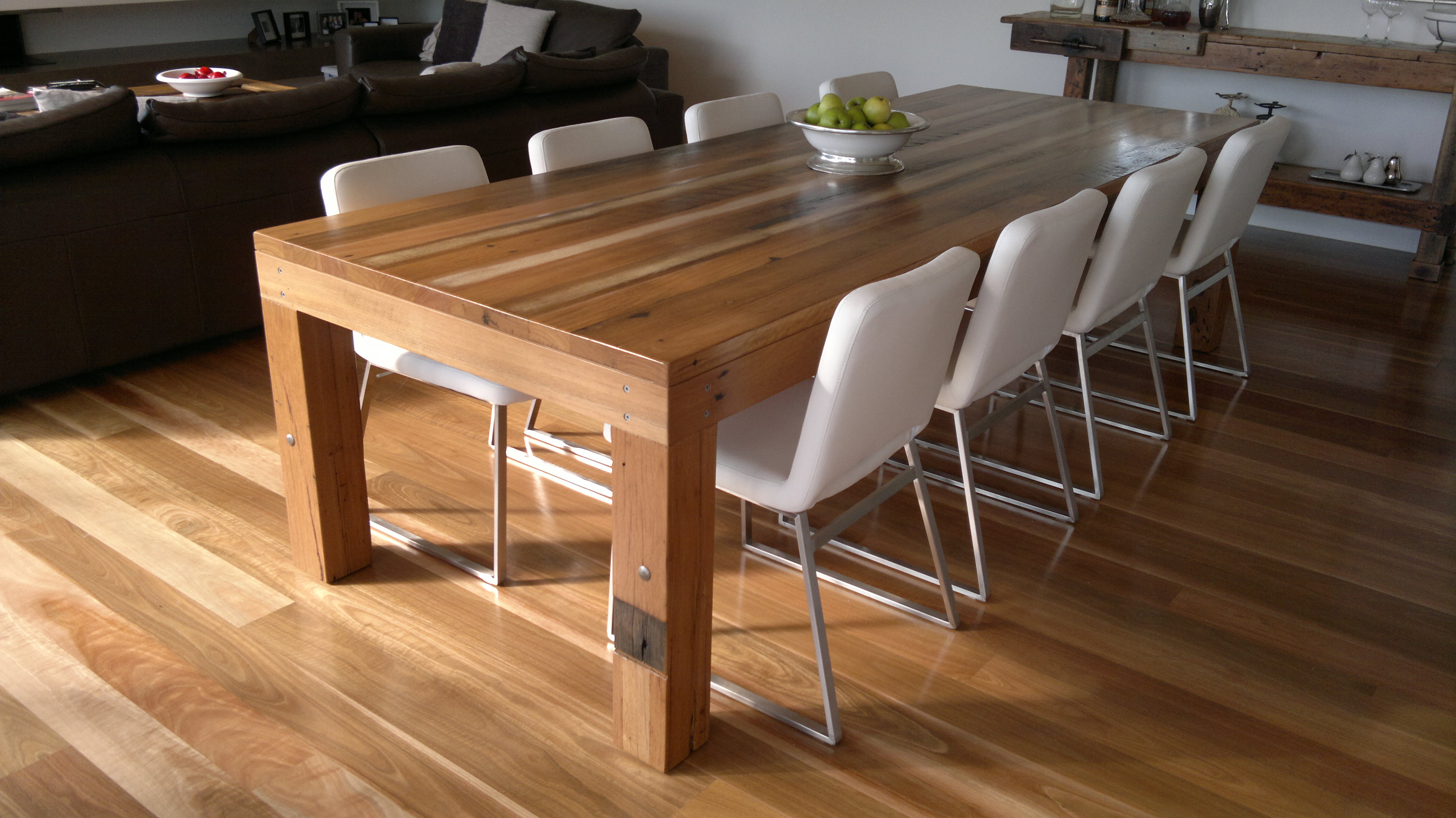 semi industrial dining table mixed hardwoods 2 industrial kitchen table Semi Industrial Dining Table Mixed Hardwoods