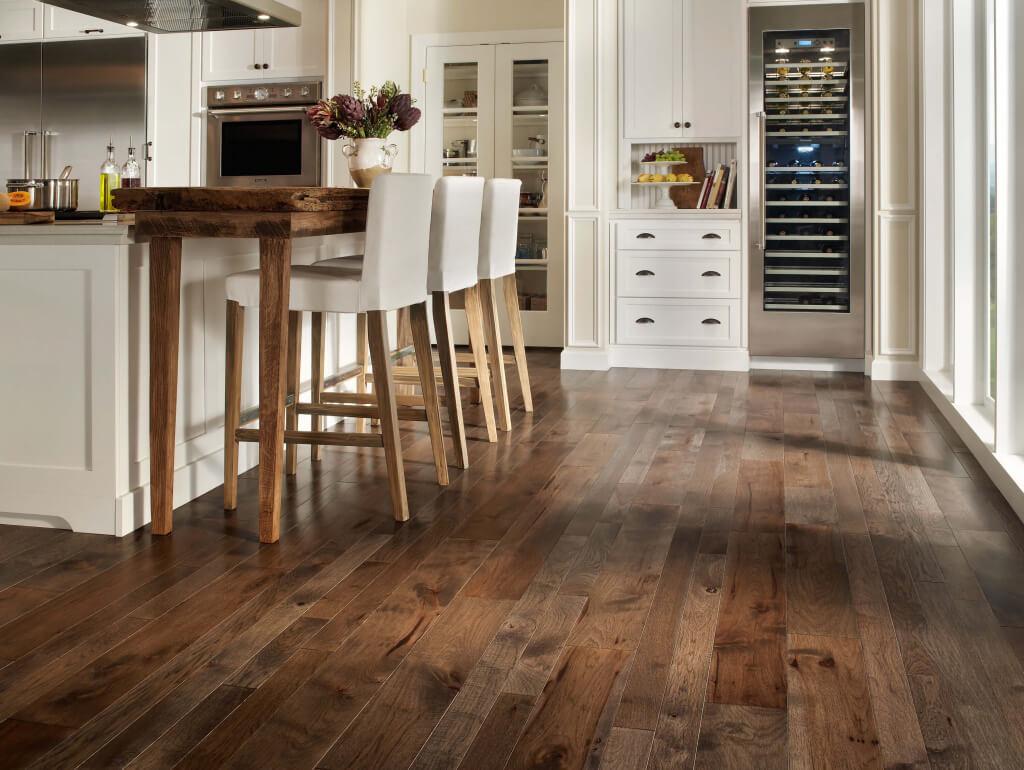 cost refinish hardwood floors wood floor in kitchen Finished Hardwood Floor in a Modern White Kitchen