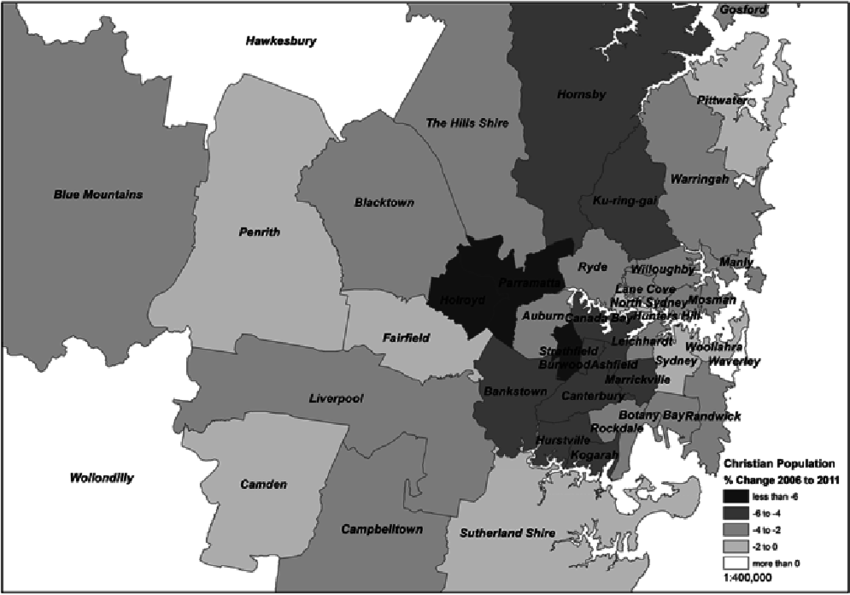 Change in Christian population in Sydney local government areas     Change in Christian population in Sydney local government areas  2006   2011    Map by Kevin M  Dunn and Awais Piracha using 2006 and 2011 Australian  Bureau of
