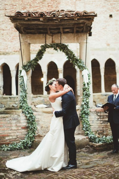 Mint Green & White Outdoor Ceremony in a Monastery ...