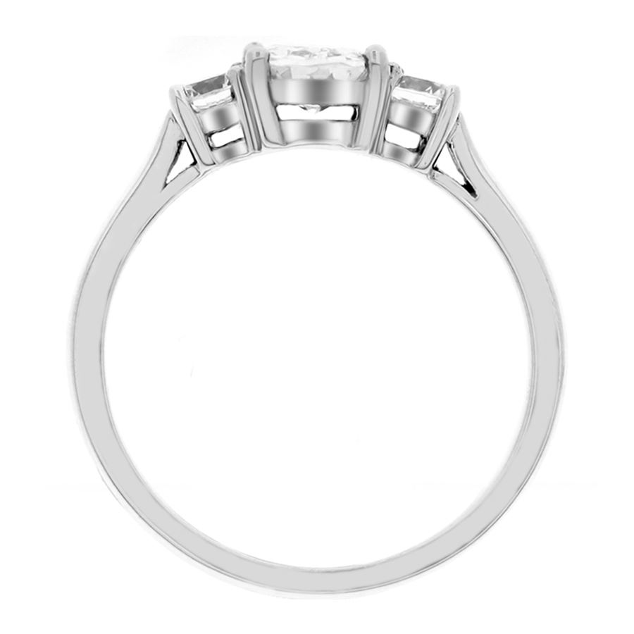 oval center and side stones basket style low profile wedding ring Picture of Three oval stones basket style low profile