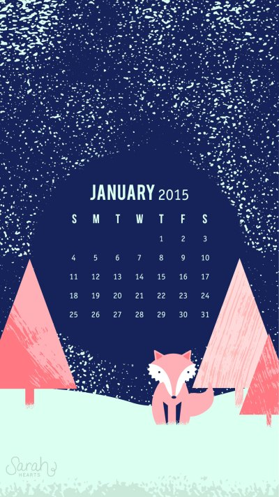 January 2015 Calendar Wallpaper - Sarah Hearts