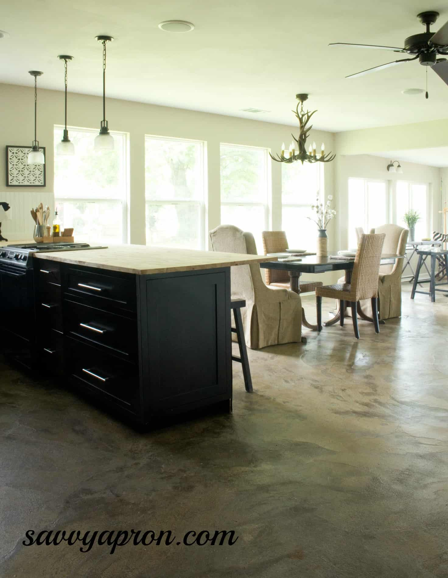 how we stained our concrete floors concrete floor kitchen stained concrete floor