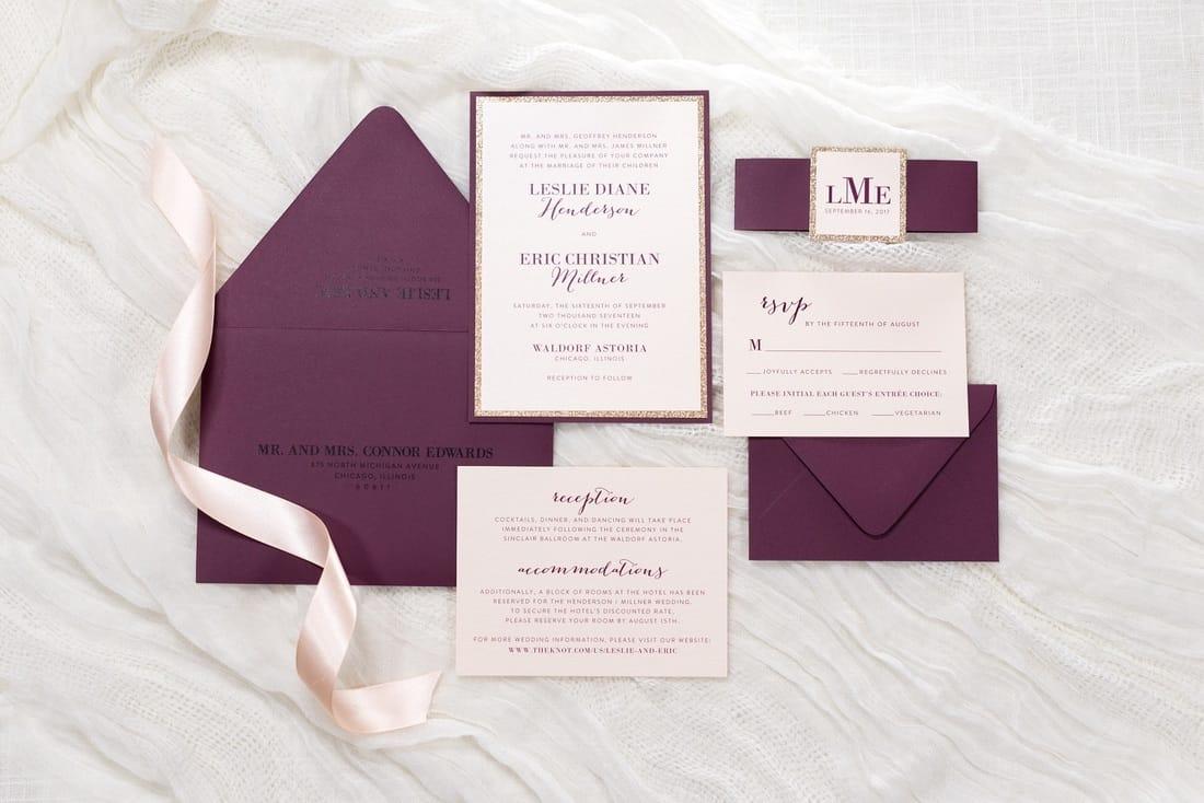 dearest burgundy wedding invitations burgundy wedding invitation Pictured Envelope Color Fig Pictured Paper Colors Blush Metallic Fig and Rose Gold Glitter