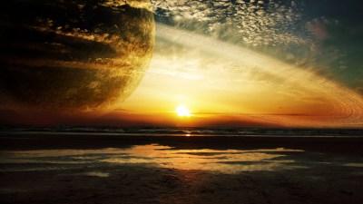 Sunset Sea Rings 4K Ultra HD Wallpaper [3840x2160]