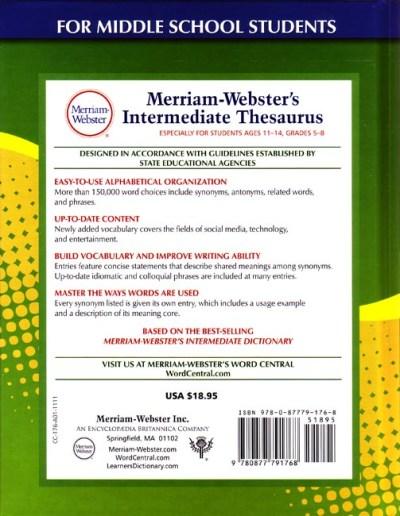 Preview Merriam-Webster's Intermediate Thesaurus (Grades 5-6) - Seton Educational Media
