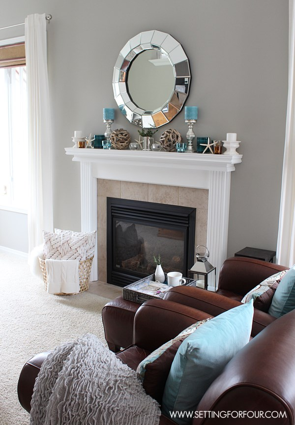 Mantel Decor Ideas   Blue  Taupe and White Palette   Setting for Four Mantel Decor Ideas   get lots of interior decor tips on creating a  beautiful layered decorated