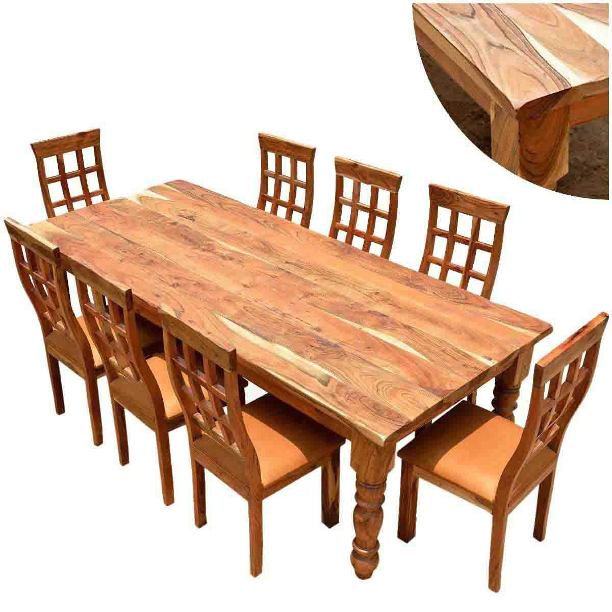 dining table and chair sets solid wood kitchen tables Rustic Furniture Farmhouse Solid Wood Dining Table Chair Set