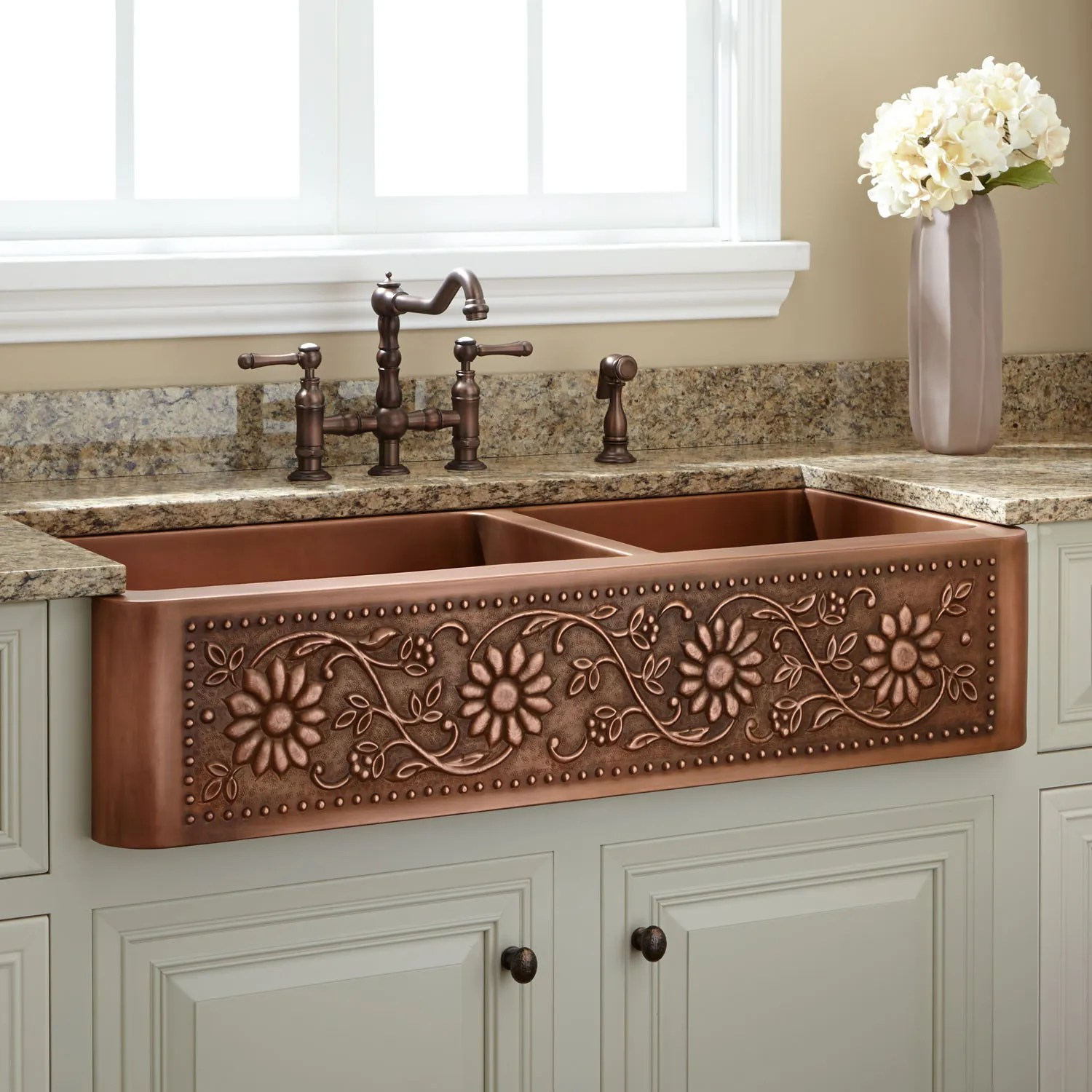 copper kitchen sinks farm kitchen sink 42 Sunflower 60 40 Offset Double Bowl Copper Farmhouse Sink