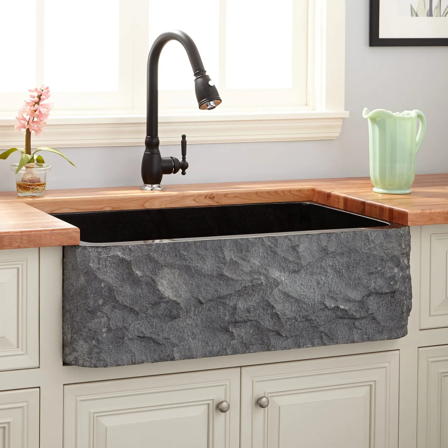 30 black polished granite single bowl farmhouse sink with chiseled apron farmhouse faucet kitchen The Black color looks sleek and contemporary but still exudes the timeless charm of traditional farmhouse sinks For a cohesive revamp add a faucet in