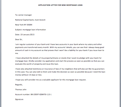Application Letter for New Mortgage Loan - Smart Letters