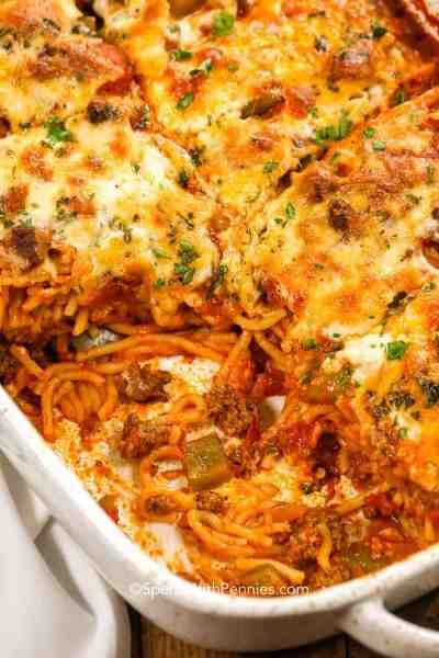 Baked Spaghetti Casserole {Easy To Make} - Spend With Pennies