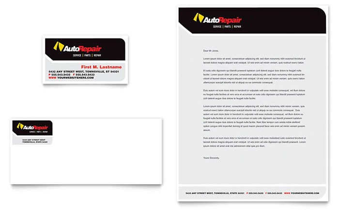 Auto Repair Flyer   Ad Template Design Auto Repair Business Card   Letterhead Template Design