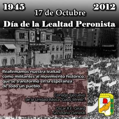 Día de la Lealtad Peronista | SunchalesHoy - Sunchales todos los días
