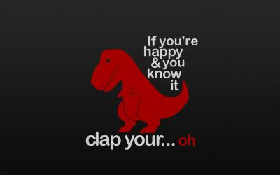 Funny little red dinosaur - happy and sad Wallpaper Download 1920x1200
