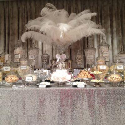 Wedding Candy Buffet in Silver and White - Candy Buffets l ...