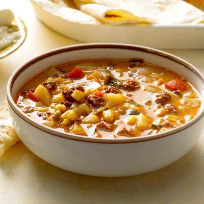 Mexican Chorizo and Corn Soup Recipe | Taste of Home