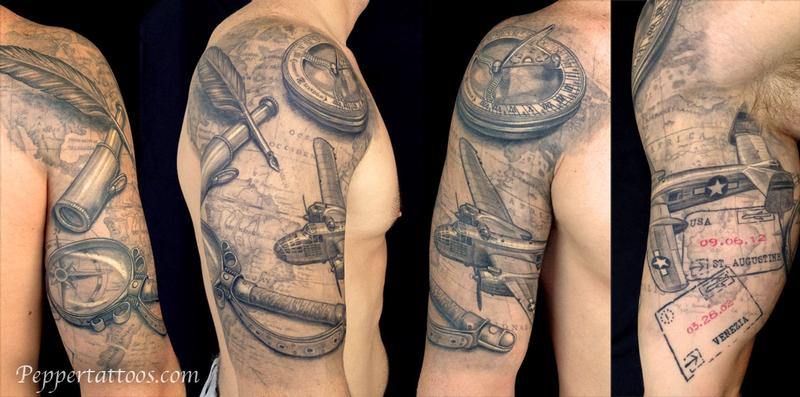 Travel Themed Tattoo by Pepper  TattooNOW   Pepper   Travel Themed Tattoo