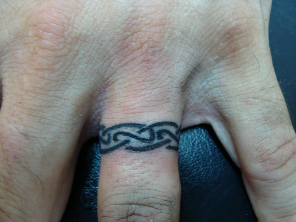 index fish hook wedding ring Celtic Wedding Band Tattoo