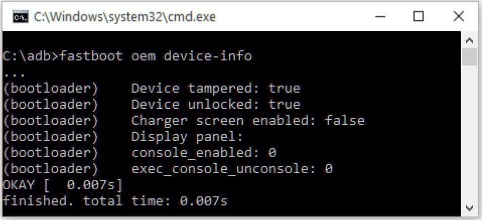 fastboot oem device info