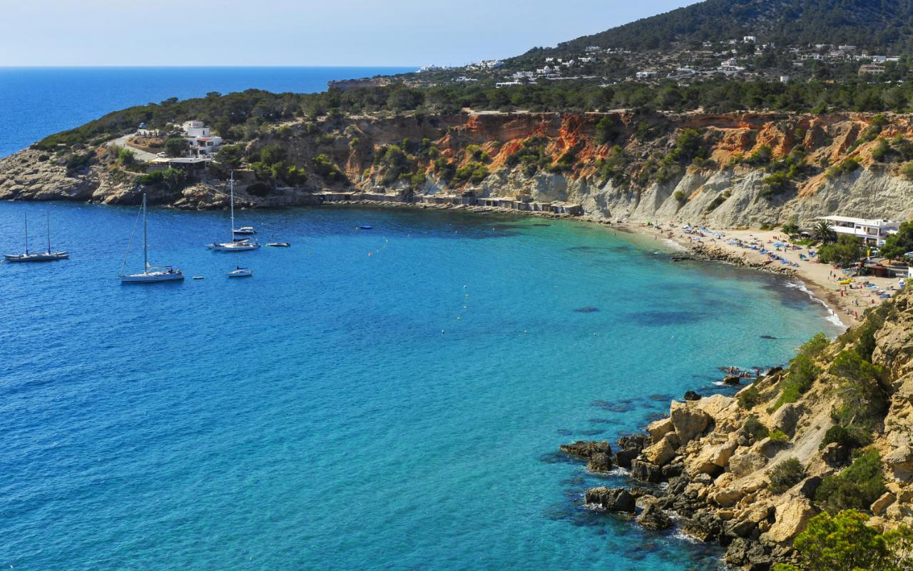 Ibiza Cala de Hort cove in Ibiza Island  Spain