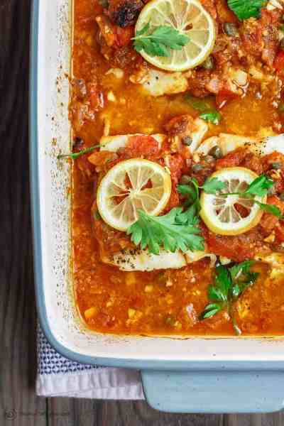 Mediterranean Baked Fish Recipe with Tomatoes and Capers (Video)
