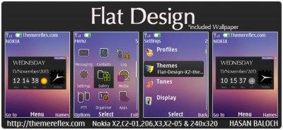 Flat Design Live theme for Nokia X2-00, X2-02, X2-05, X3-00, C2-01, Asha 206, 301, 2700, 6303i ...