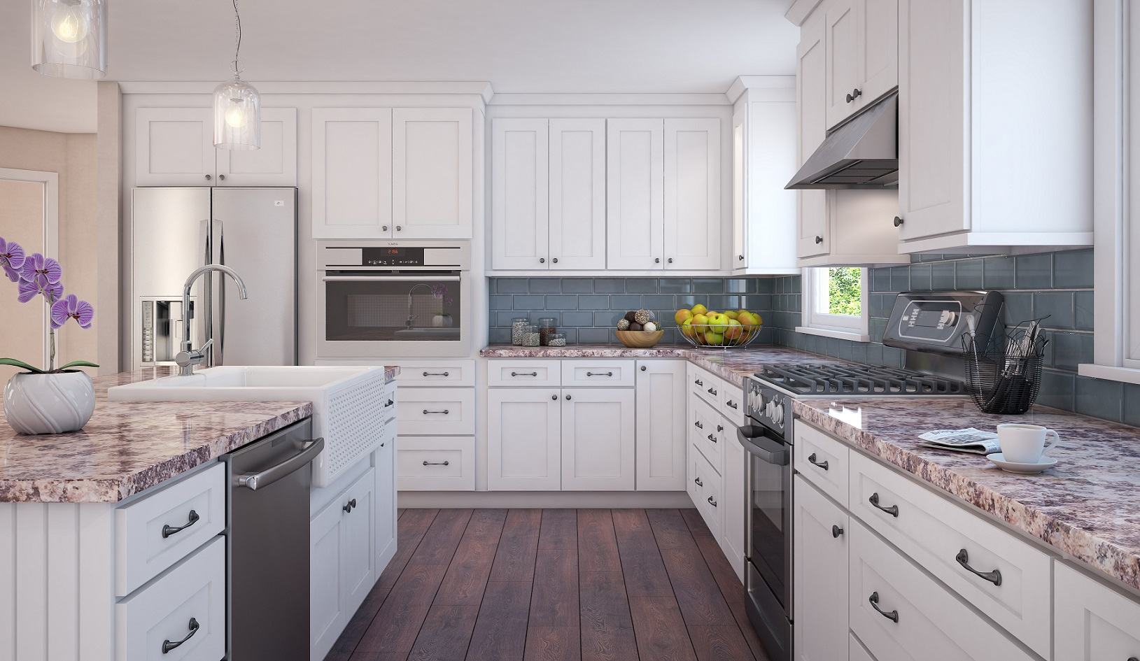 brilliant white shaker assembled kitchen cabinets More Views