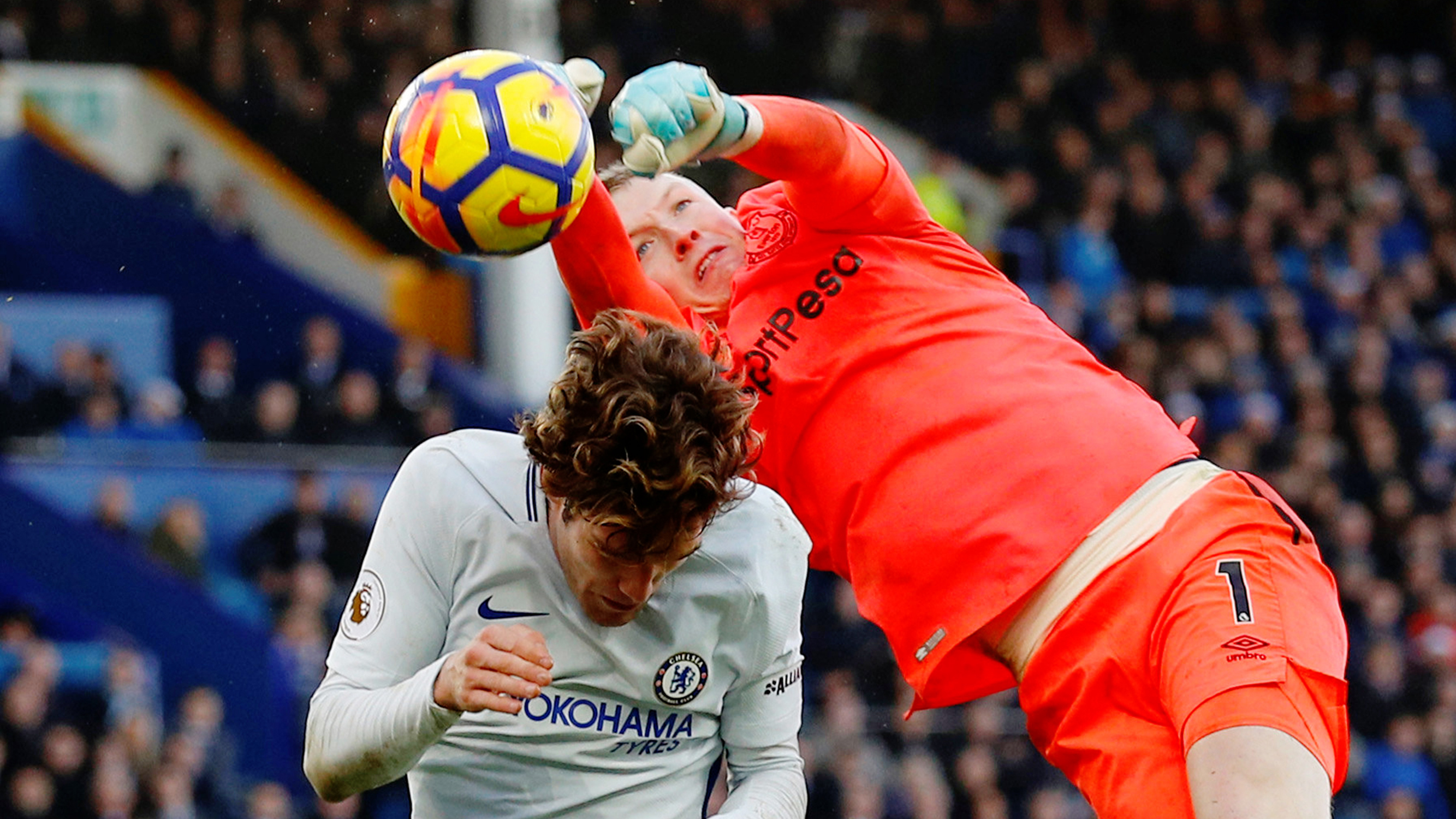 Pickford shows he s ready for World Cup call   Sport   The Times Flying stop  Jordan Pickford beats Chelsea s Marcos Alonso to the ball