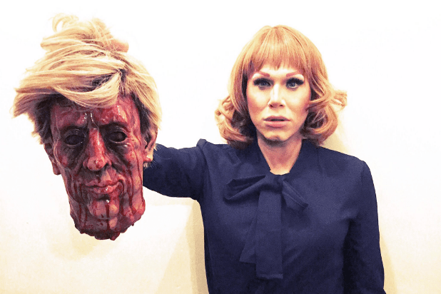 Drag Race  Winner Dresses as Kathy Griffin  Complete With Trump Head  Drag Race  Winner Dresses as Kathy Griffin  Complete With Trump Head